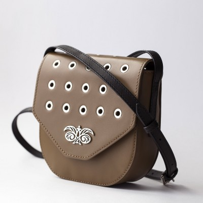 Small shoulder bag DINA ROCK in smooth leather, nut color - side view