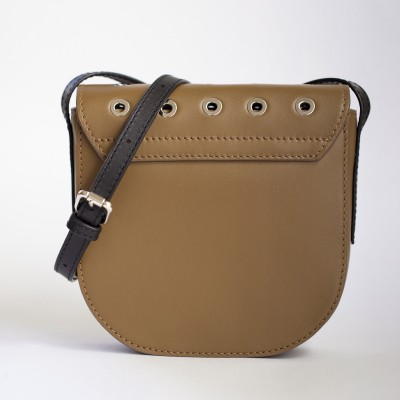 Small shoulder bag DINA ROCK in smooth leather, nut color - back view