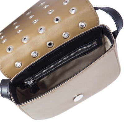 Small shoulder bag DINA ROCK in smooth leather, nut color - open