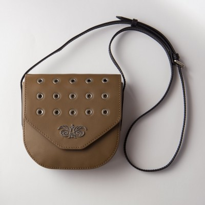 Small shoulder bag DINA ROCK in smooth leather, nut color - with a shoulder strap