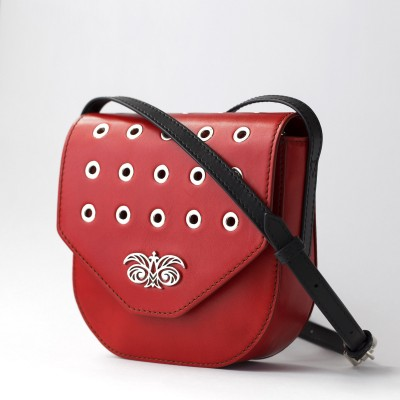 Small shoulder bag DINA ROCK in smooth leather, red color - side view