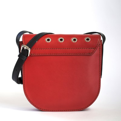 Small shoulder bag DINA ROCK in smooth leather, red color - back view