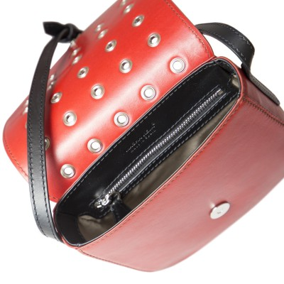 Small shoulder bag DINA ROCK in smooth leather, red color - open