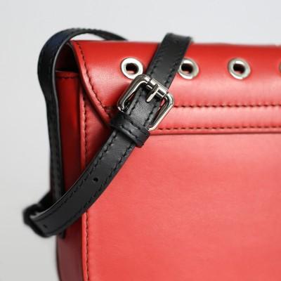 Small shoulder bag DINA ROCK in smooth leather, red color - details