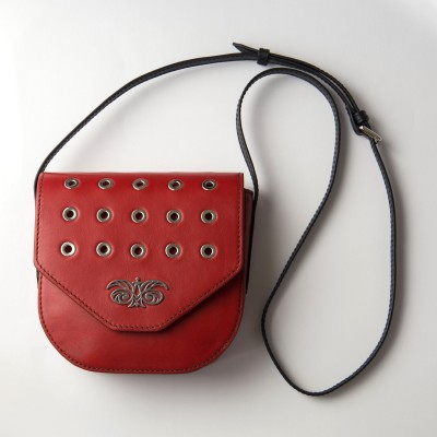 Small shoulder bag DINA ROCK in smooth leather, red color - with shoulder strap